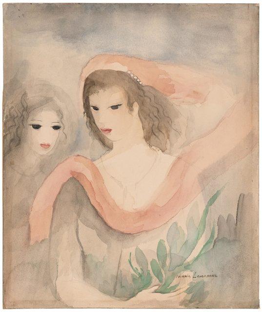 Marie Laurencin, 'Deux Tetes de Femmes', Painting, Watercolor over traces of pencil on paper, Doyle