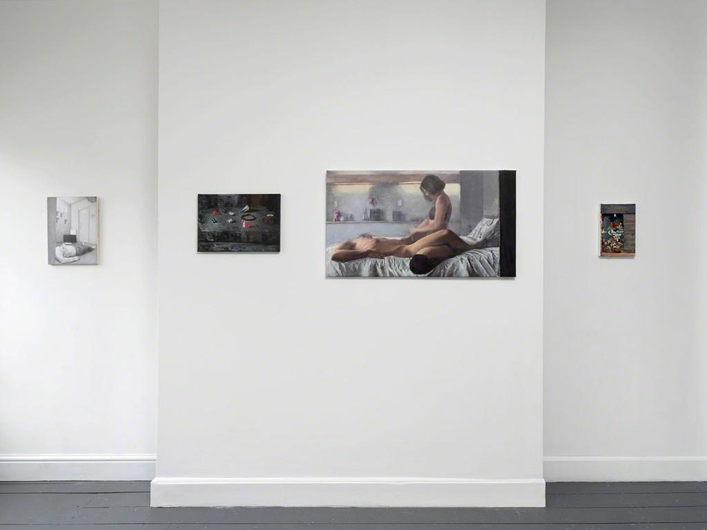 'Dark Smoke' installation view, works by Dan Beudean, Ioana Iacob and Dan Maciuca.