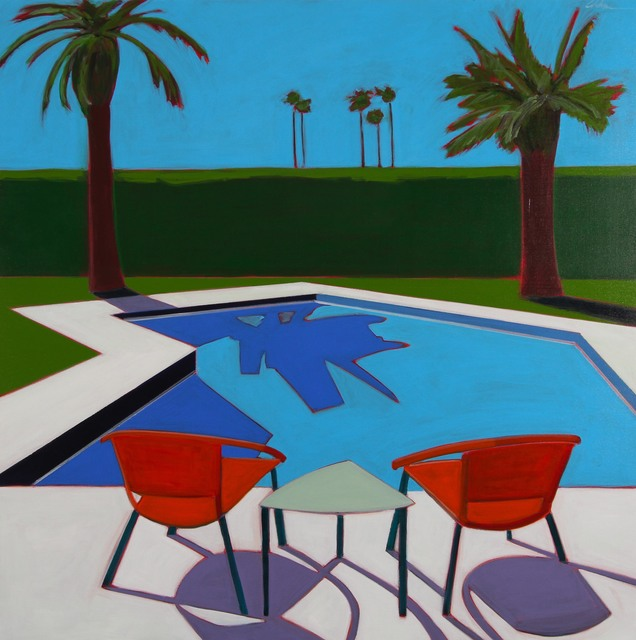 , 'Pool With Orange Chairs,' 2017, Caldwell Snyder Gallery