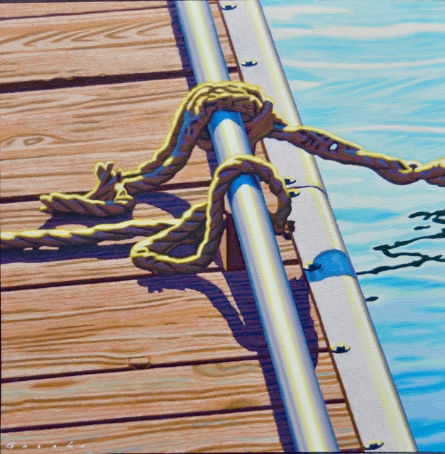 """Rob Brooks, '""""Dock Knots"""" Rope Tied on a Dock in Dramatic Light with Reflection in Water', 2018, Eisenhauer Gallery"""