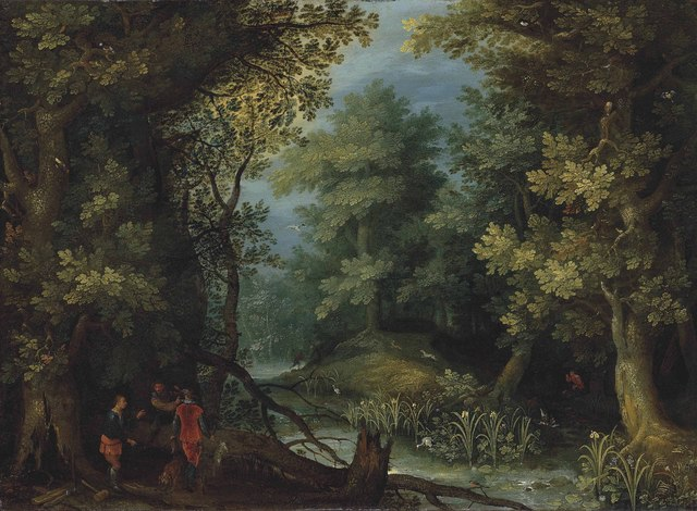 , 'Hunters with hounds by a stream in a wooded landscape,' , Christie's Old Masters