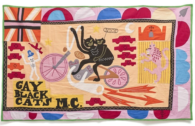 Grayson Perry, 'Gay Black Cats MC', 2017, Textile Arts, Cotton fabric and embroidery appliqué on handmade flag, Hang-Up Gallery