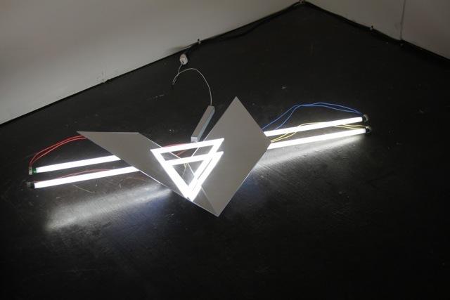Brookhart Jonquil, 'Two Triangles', 2012, Sculpture, Acrylic mirror, fluorescent lights, paint, Emerson Dorsch