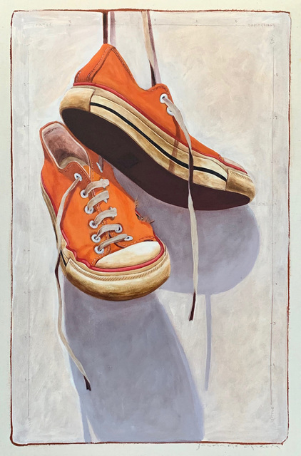 """Santiago Garcia, '""""#1331"""" photorealist oil painting of orange converse low tops with white background', 2019, Painting, Oil & Acrylic on Canvas, Eisenhauer Gallery"""