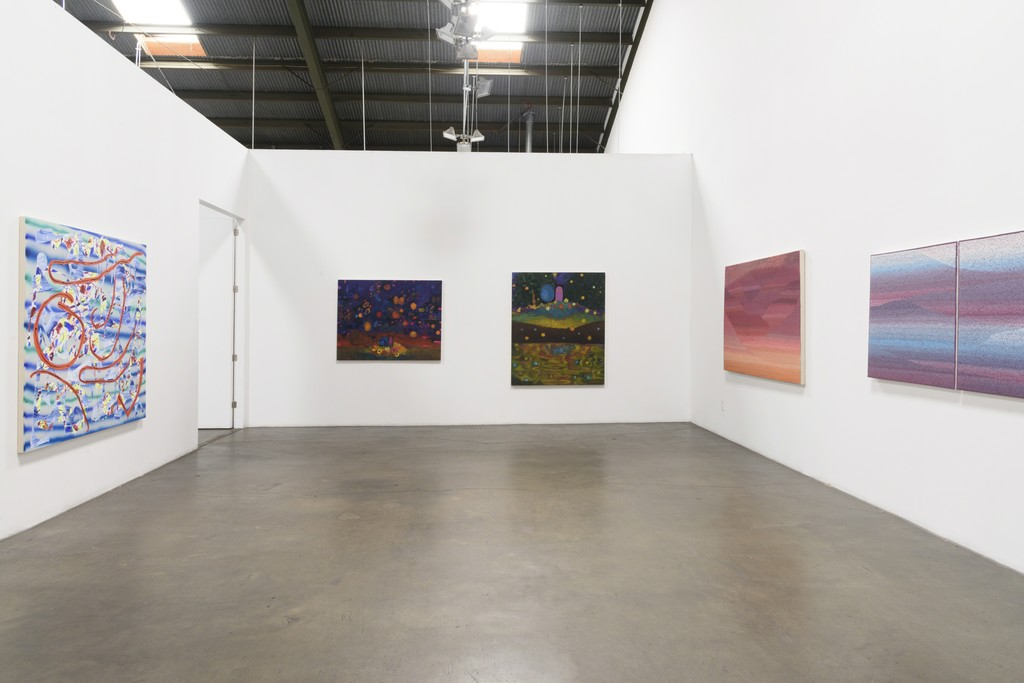 Installation View:  Group Show, featuring Trudy Benson, Farshad Farzankia, Benjamin Klein, and Jean Isamu Nagai at Richard Heller Gallery. Exhibition Dates: January 6 - February 10, 2018.   This image (left to right): Work by Trudy Benson, Benjamin Klein, and Jean Isamu Nagai.