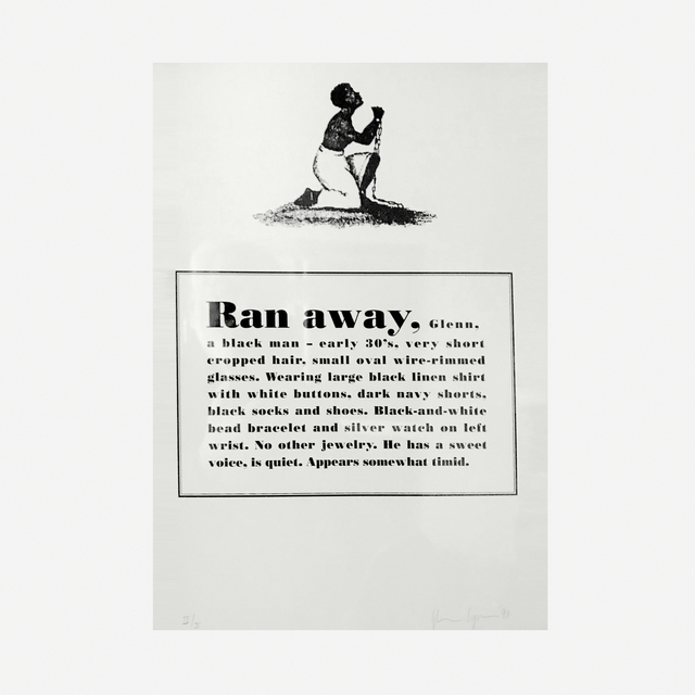 Glenn Ligon, 'Runaways', 1993, Print, Complete portfolio of ten photolithographs on ivory Saunders Hotpress paper, Artsy x Rago/Wright