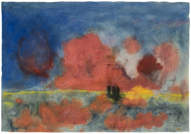 , 'Sea with red clouds and dark sailing boats,' c. 1935/40, Galerie Thomas
