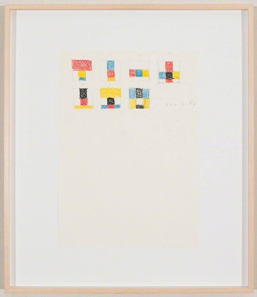 Max Bill, Komposition, 16.2.1969, 1969 Pencil and coloured pencil on paper 30 x 21 cm