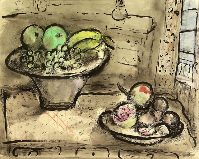 Marc Chagall, 'Les grenades', 1949, Painting, Watercolor, pastel and ink on paper, Galerie Lelong & Co.