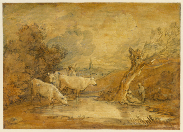 , 'Landscape with Figures, Herdsman and Cattle at a Pool, and Distant Church,' Mid-to late 1780s, Clark Art Institute