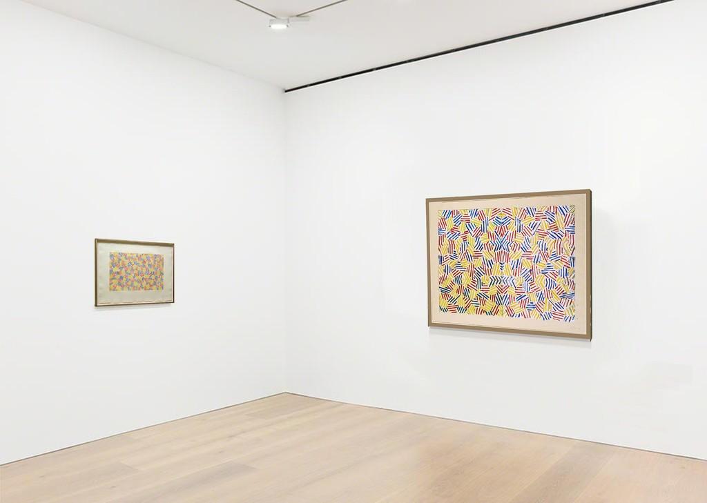 2 Jasper Johns crosshatch works: Jasper Johns Untitled I, left, & Jasper Johns Corpse & Mirror available from Joseph K. Levene Fine Art, Ltd.