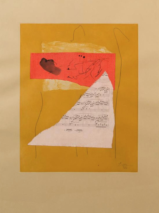 "Robert Motherwell ""Music Collage"" 1978 Ink & collage on lithograph"