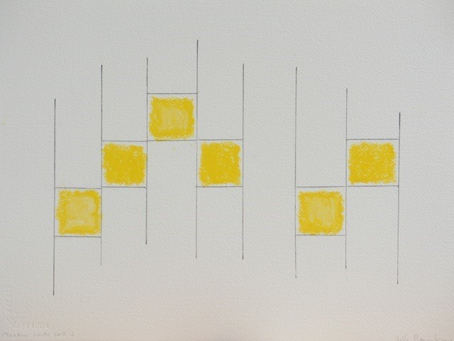 Edda Renouf, 'Meadow Larks Call #2', 2019, Drawing, Collage or other Work on Paper, Graphite, ink and oil pastel with incised lines on Arches paper, Barbara Mathes Gallery