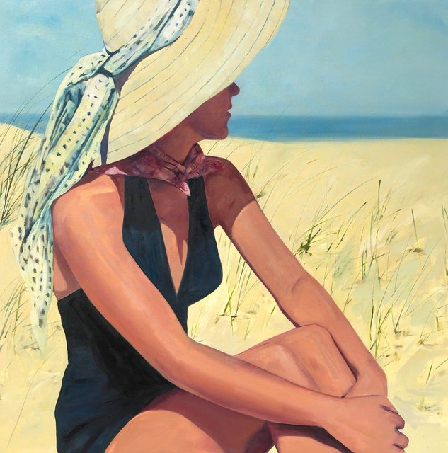 , '''At the Shore'' Oil painting of a women in a black bathing suit and sunhat sitting on the beach,' 2019, Eisenhauer Gallery