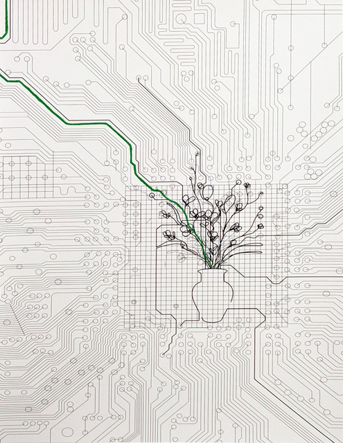 Analia Saban, 'Bouquet of Flowers within Circuit Board (with Green Line)', 2014, Free Arts NYC Benefit Auction