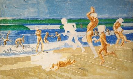 "Preliminary work for ""Badende børn på Skagens Strand"" (Children Bathing at Skagen Beach) also called ""Sol og Ungdom"" (Sun and Youth) (1910)"