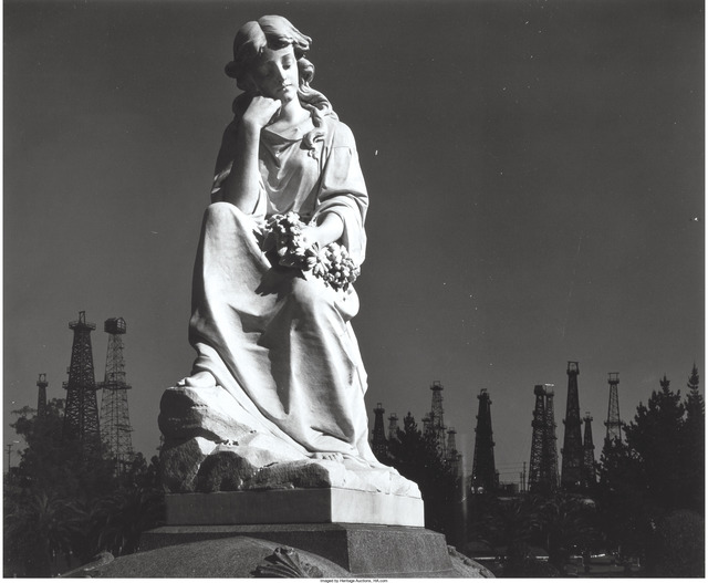 Ansel Adams, 'Cemetery Statue and Oil Derricks, Long Beach, California', 1939, Heritage Auctions