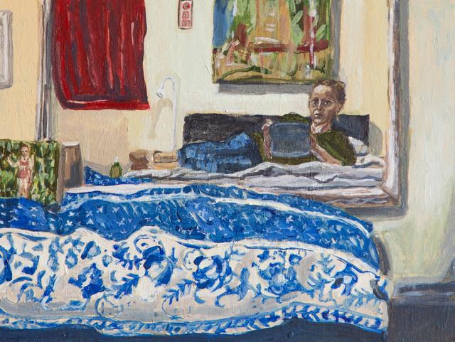 , 'Portrait in Mirror with Blue Pattern,' 2017, John Davis Gallery