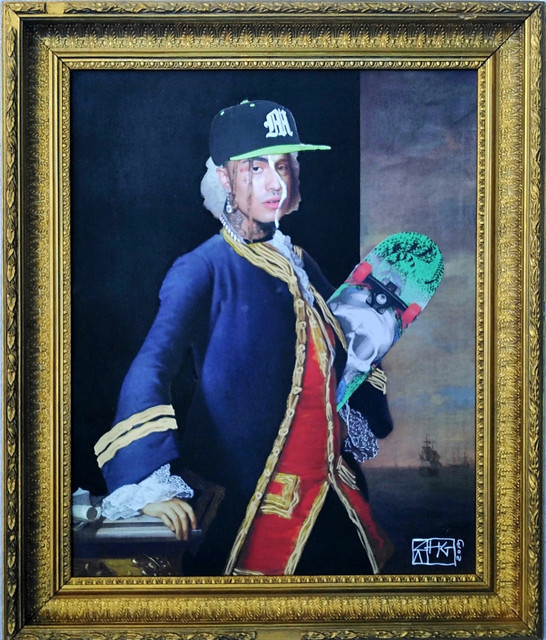 , 'Baron Pump: Portrait of Admiral of the Fleet, 1st Baron Anson, photobombed by Lil Pump,' 2019, Contemporary Collective