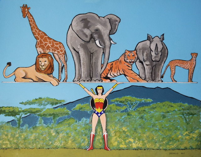 , 'Wonder Woman Saves the World,' 2017, Fountain House Gallery