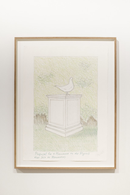 Peter Land, 'Proposal for a Monument for the Pigeons that shit on Monuments', 2020, Drawing, Collage or other Work on Paper, Colour pencil on paper, KETELEER GALLERY