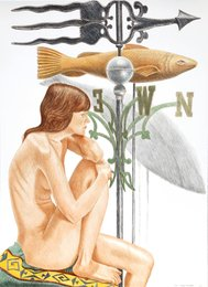 Philip Pearlstein, 'Nude Model with Banner and Fish Weathervanes,' 2010, Heritage Auctions: Holiday Prints & Multiples Sale