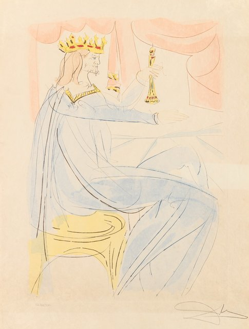 Salvador Dalí, 'King Solomon, from Our Historical Heritage', 1975, Other, Engraving with pochoir in colors on Japon paper, Heritage Auctions
