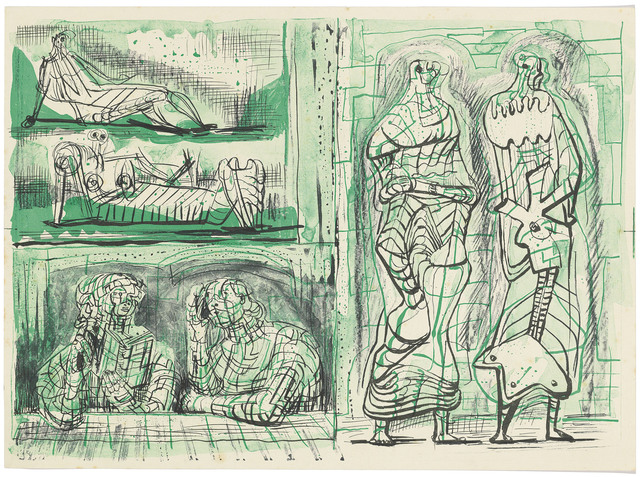 Henry Moore, 'Two Standing Figures with Studies on the Left', circa 1950, Print, Collotype printed in green and black on wove paper, Christie's