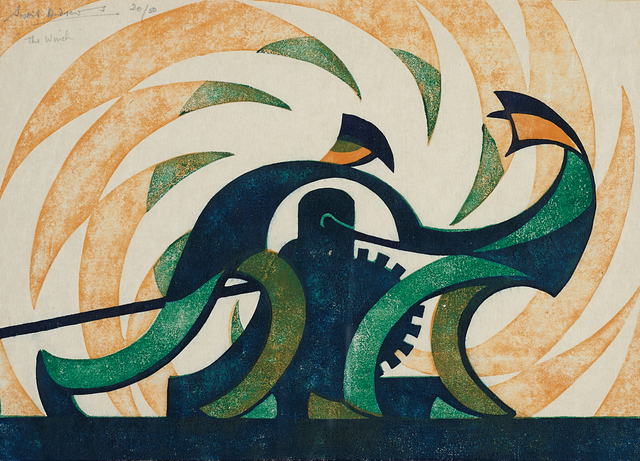 Sybil Andrews, 'The Winch', 1930, Print, Linocut in colours, on cream Japanese laid tissue paper, with wide margins, Phillips
