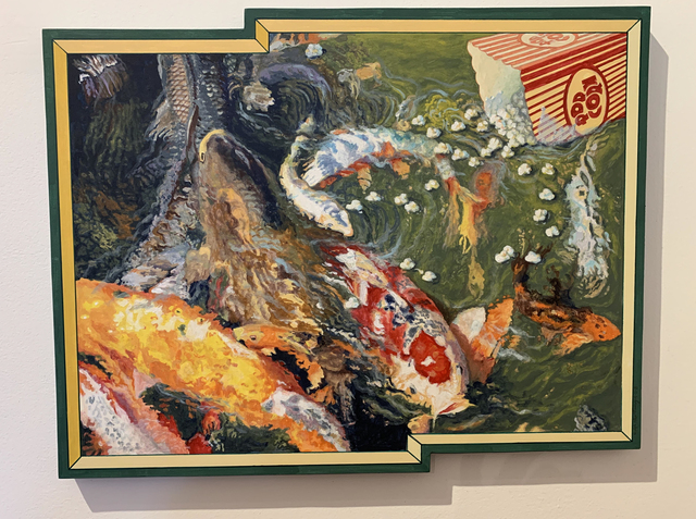 Ralph Allen Massey, 'Casting Popcorn Before Koi', 2017, Painting, Acrylic paint on board, bG Gallery