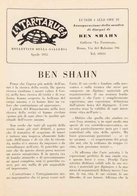 Ben Shahn, 'Bollettino', Finarte