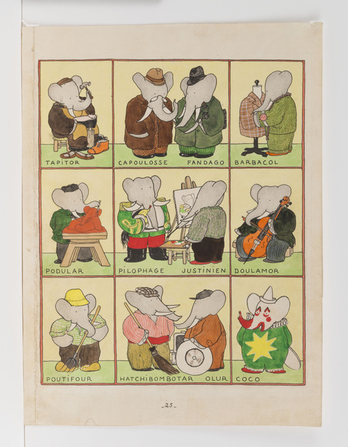 ", '""All the Elephants have Chosen a Trade,"" published Illustration for Babar the King,' 1936, Mary Ryan Gallery, Inc"