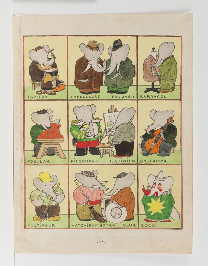 "Jean de Brunhoff, '""All the Elephants have Chosen a Trade,"" published Illustration for Babar the King,' 1936, Mary Ryan Gallery, Inc"