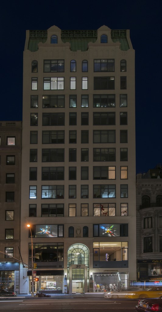 Untitled Red & Falling Yellow in the windows of the Gallery at 37 West 57 Street