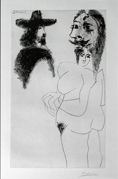 Pablo Picasso, 'BEAU GENTILHOMME ESPAGNOL ET FEMME À BARBE (B. 1743)', 1968, Marcel Katz Art