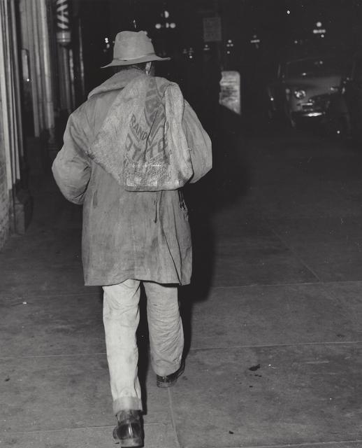 Weegee, 'Man carrying burlap bag on his back, New York', ca. 1950, Elizabeth Houston Gallery