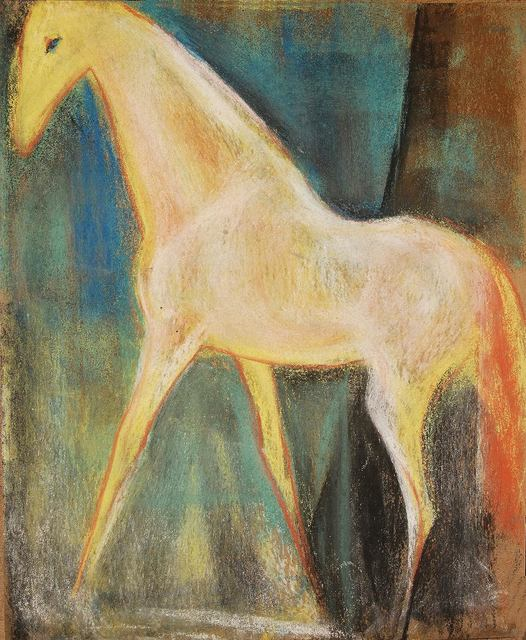 """, 'Horse, Pastel on paper, Red, Green, Blue, Yellow by Indian Artist """"In Stock"""",' , Gallery Kolkata"""