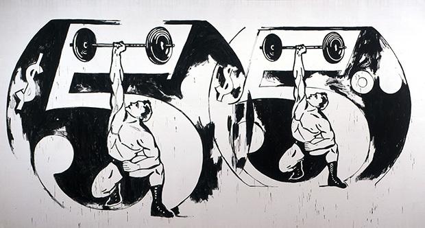 Andy Warhol, 'Double $5/Weightlifter', 1985-1986, Joseph K. Levene Fine Art, Ltd.