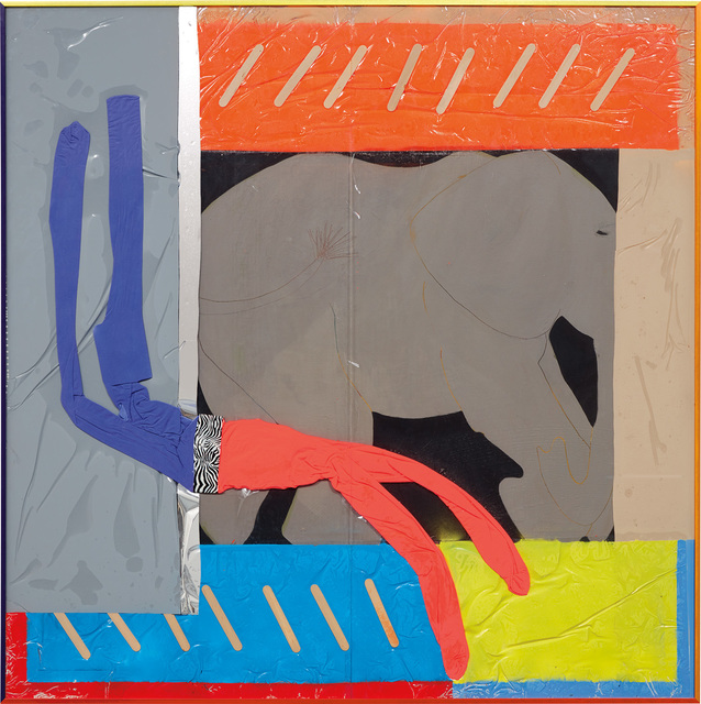 Alex Da Corte, 'Elephant Bends', 2013, Other, Enamel, wooden craft sticks, Mitchell Kehe's Untitled from ZOOKEEPER, American Apparel leggings, duct tape, plastic sheeting, adhesive mirror foil, vinyl, spray adhesive, spray paint, foam and Plexiglas, in artist's frame, Phillips