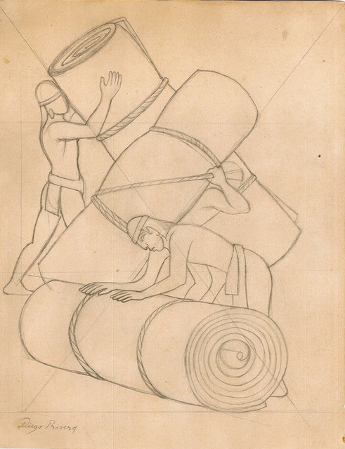 Diego Rivera, 'Cargadores de Petates', Drawing, Collage or other Work on Paper, Pencil on paper, Galerie AM PARK