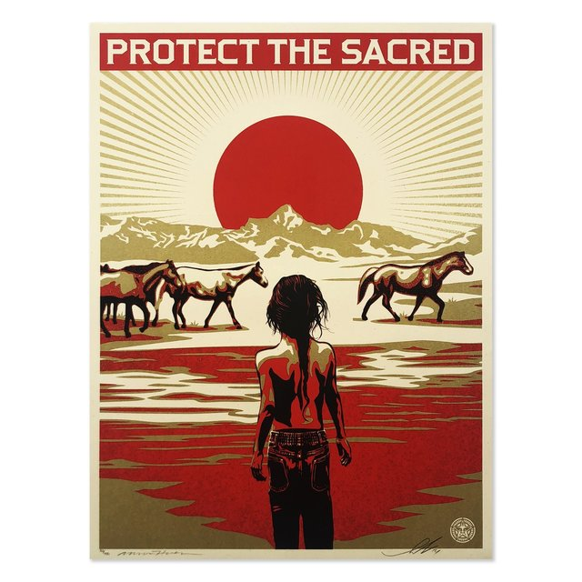 Shepard Fairey, 'Protect The Sacred ', 2014, Print, Screen Print On Thick Speckle Tone Paper With Gold Metallic Inks, New Union Gallery