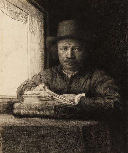 , 'Rembrandt Drawing at a Window,' ca. 1648, Brook Gallery