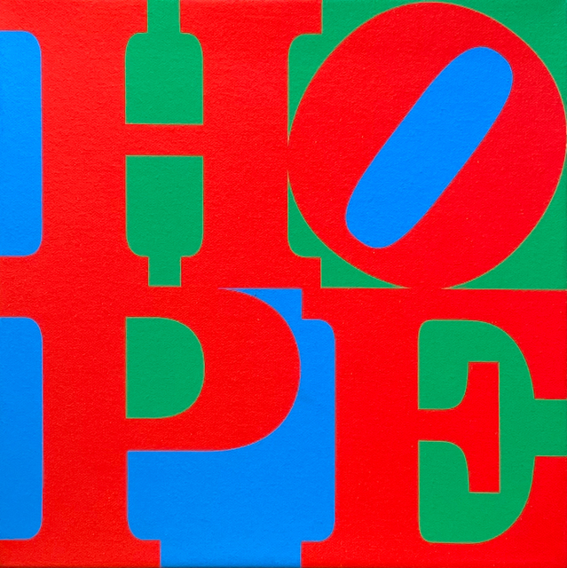 Robert Indiana, 'HOPE (Red, blue, green)', 2015, Painting, Acrylic and silkscreen on canvas, Woodward Gallery