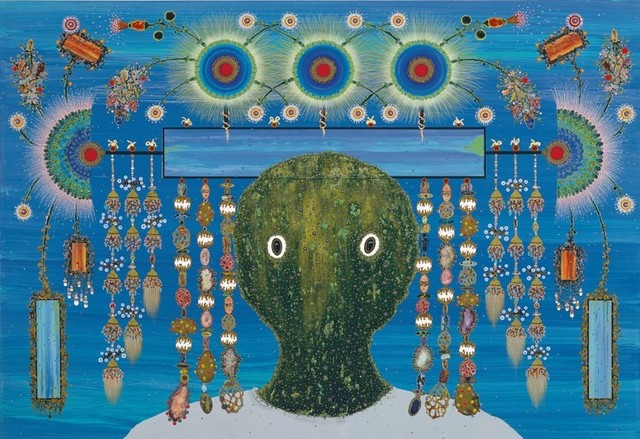 , 'Joven verde con adorno en la cabeza,' 2007, Barro
