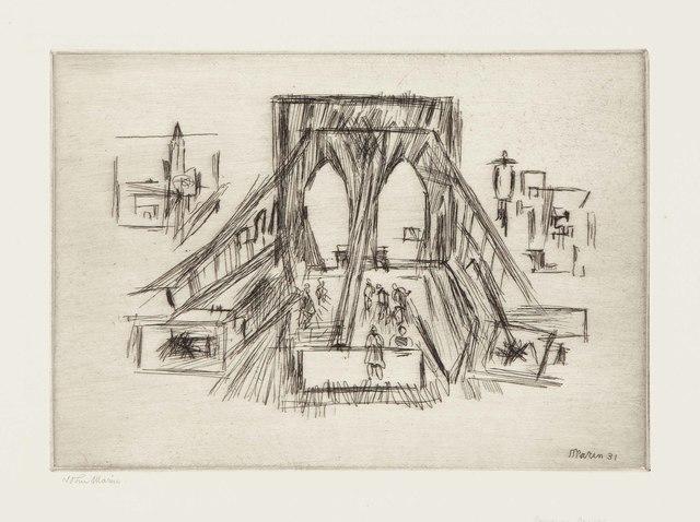John Marin (1870-1953), 'Approach to the Bridge', 1931, Christie's