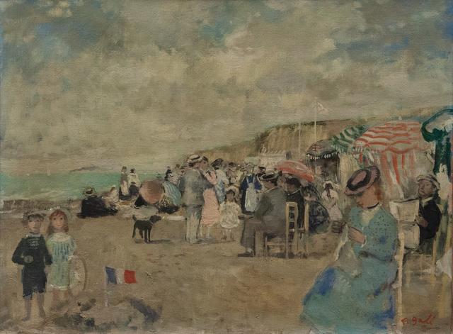 , 'Marie-Lize e Jean-François davanti a un castello di sabbia sulla spiaggia a Étretat,' , Artrust