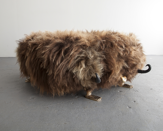 The Haas Brothers, 'Unique Edward Fur-Long bench from the Beast series, in Beach Boy Icelandic sheep fur, with carved ebony horns, cast bronze cheetah feet, and a cast bronze tongue. Designed and made by The Haas Brothers, Los Angeles, CA.,' 2014, R & Company