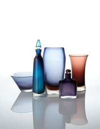 Two vases, two decanters, and a bowl