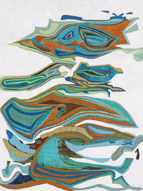 ", '""Montcada 2"" Abstract oil painting in Blue, Turquoise, Orange, Brown, White,' 2010-2018, Eisenhauer Gallery"