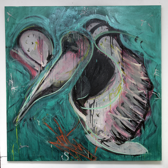 Marcy Brafman, 'Pelican', 2015, Painting, Pearlescent oil enamel and oil on canvas, Court Tree Collective